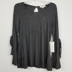 NWT Coverstitched by Timing gray bell sleeve top